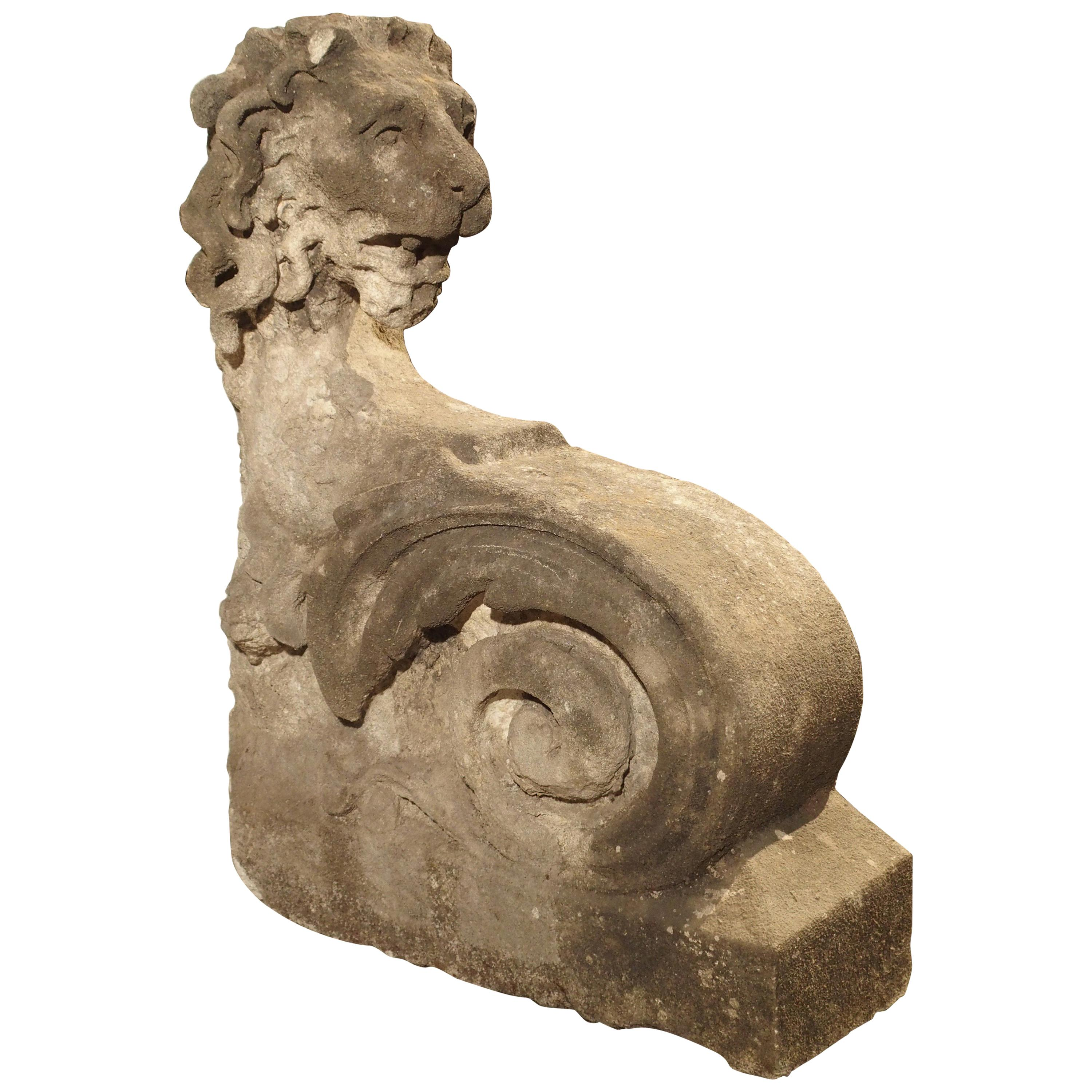 Beautiful Carved Limestone Lion Architectural, Burgundy France, 17th Century