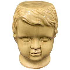 Beautiful Ceramic Toddler Head Garden Stool or Side Table Patio Decoration
