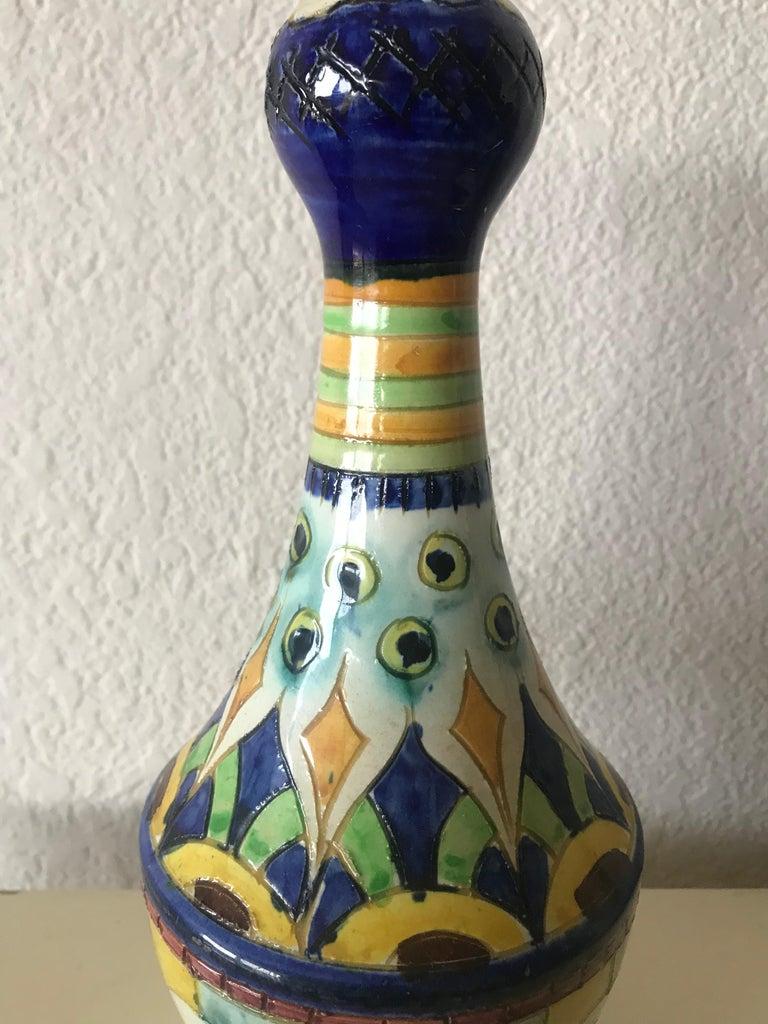 Beautiful midcentury hand painted ceramic vase. Italy, circa 1950s.