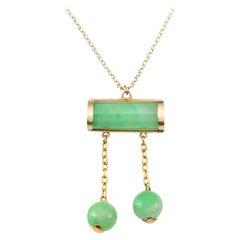 Beautiful Certified Natural Apple Green Jadeite Jade Estate Necklace