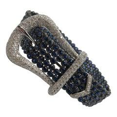 Beautiful Ceylon Sapphire and Diamond Buckle Bracelet 18 Karat
