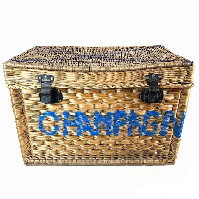 Champagne Region Interior Design Traditional Rustic: Beautiful Champagne Wicker Basket Trunk, 1910s, France For