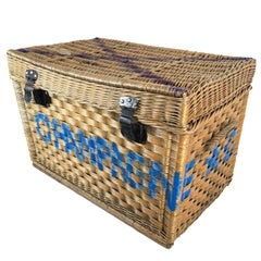 Beautiful Champagne Wicker Basket Trunk, 1910s, France