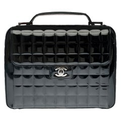 Beautiful Chanel black quilted patent leather satchel bag