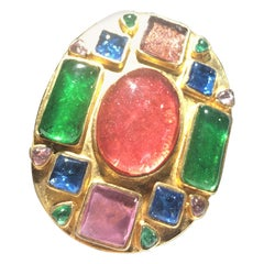 Beautiful Chanel Multi Colored Stone Broach With Chanel Box
