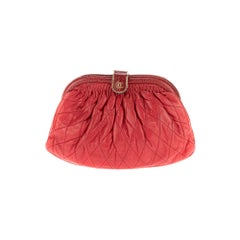 Beautiful Chanel vintage Clutch in burgundy lambskin/Python !