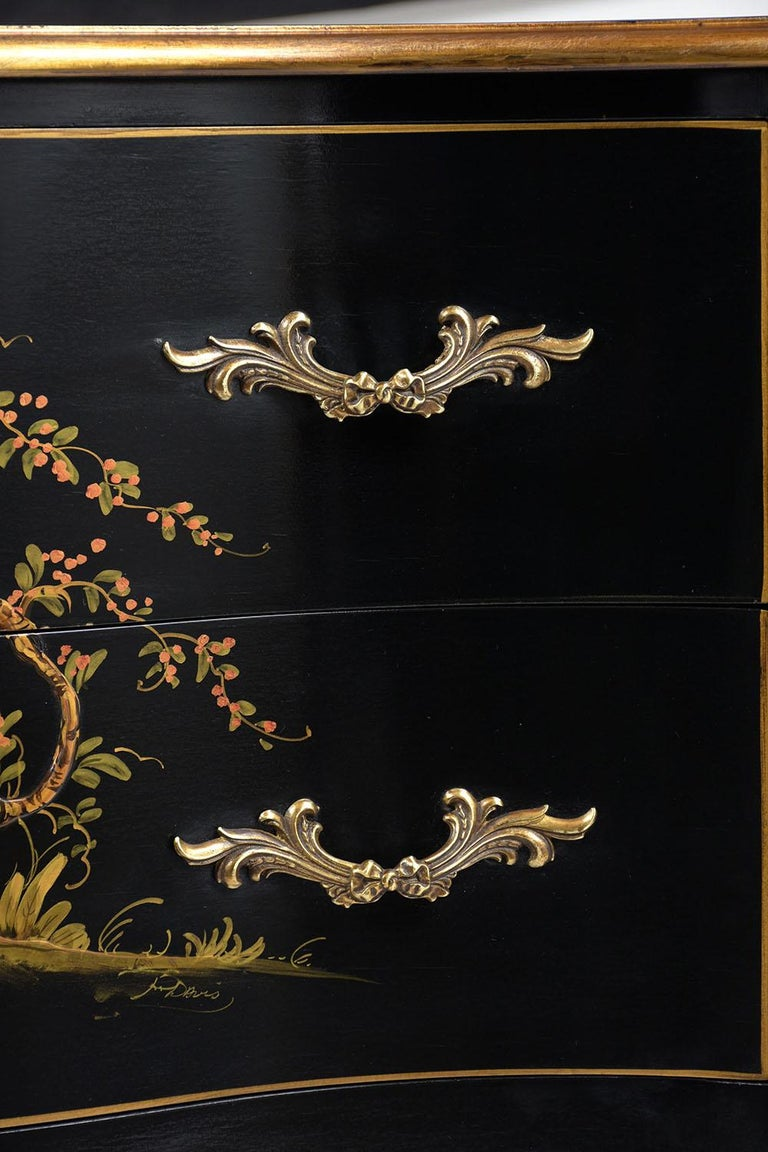 Polished Beautiful Chinoiserie Style Chest of Drawers For Sale
