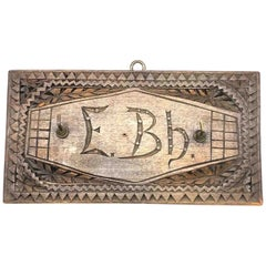 Beautiful Chip Carving Key Hanger Board Antique German Folk Art, 1900s