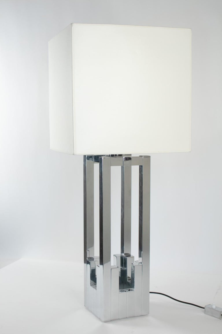 Rare and beautiful chrome deluxe table lamp by Willy Rizzo for Lumica, Italy, 1970s.