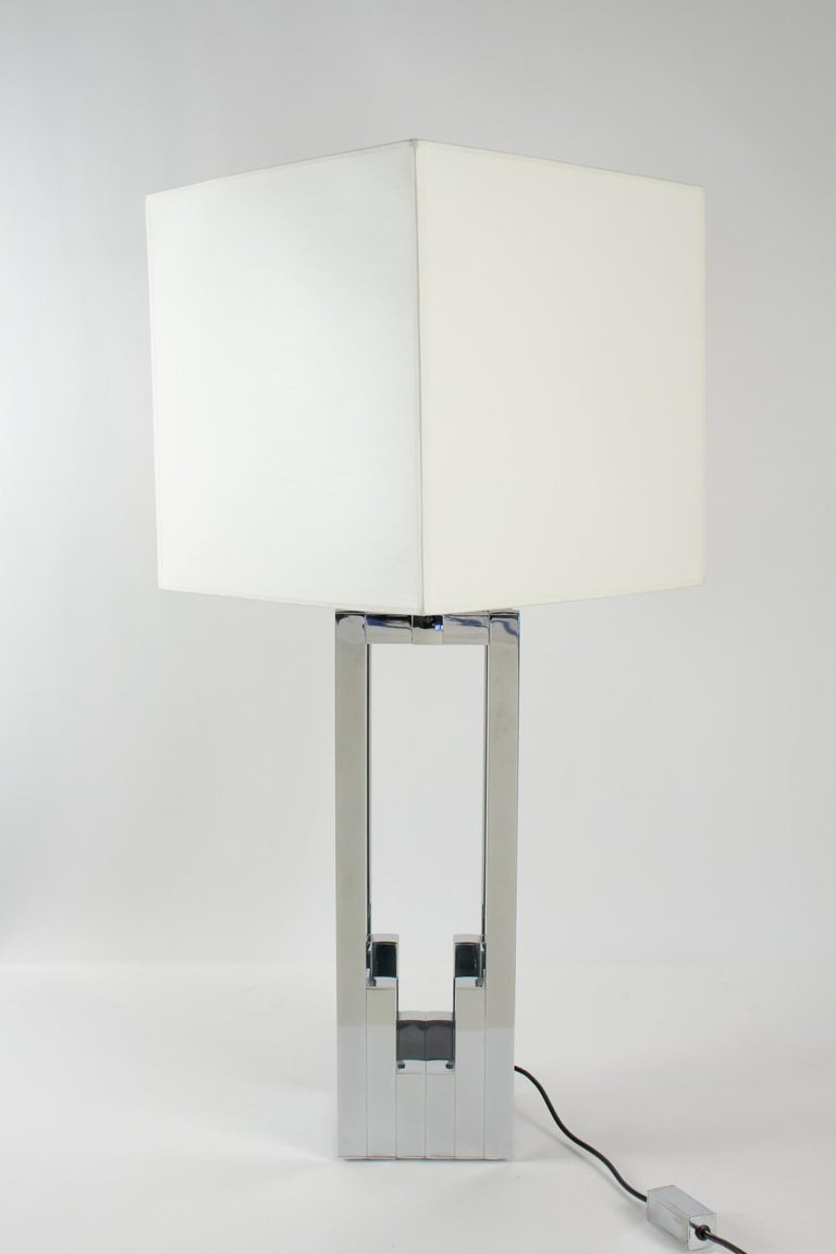 Beautiful Chrome Deluxe Table Lamp by Willy Rizzo for Lumica, Italy, 1970s For Sale 3