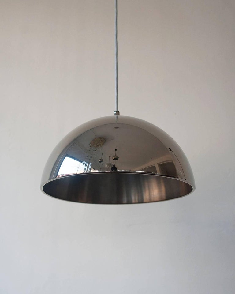 Metal chromed dome pendant by Florian Schulz is a unique form of art and jewelry. Excellent vintage condition. Overall height is adjustable.