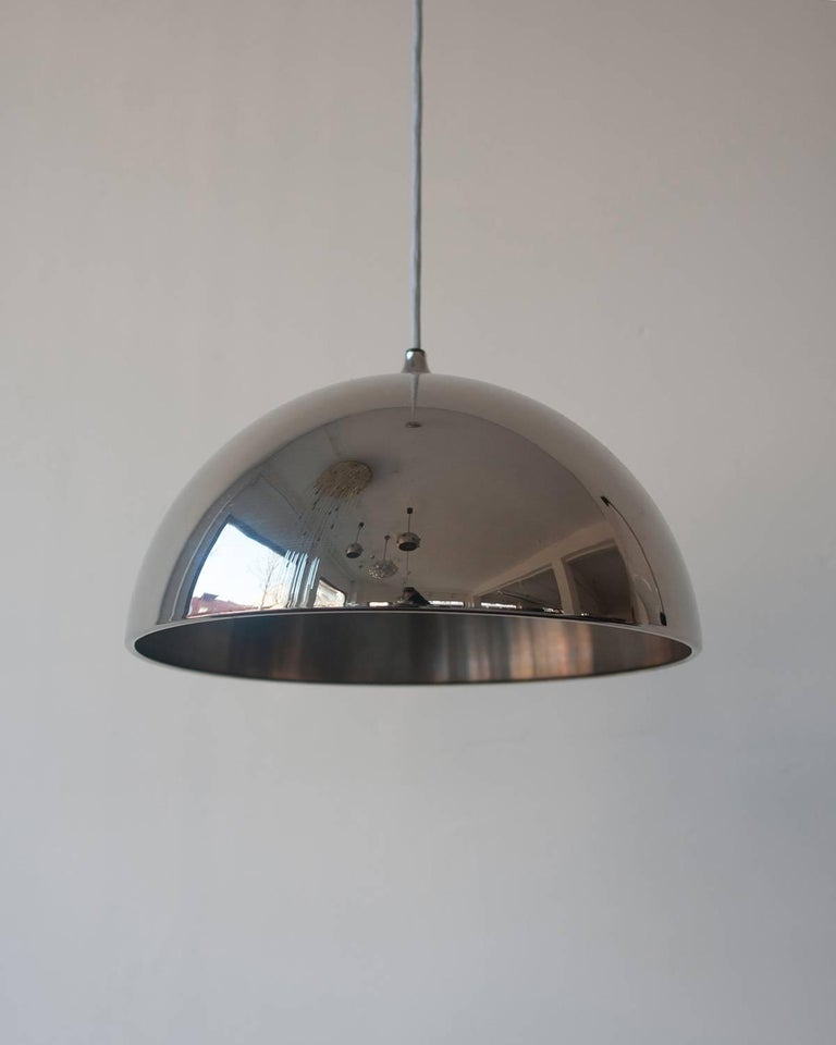 Mid-Century Modern Beautiful Chrome Dome Pendant Designed by Florian Schulz, Germany For Sale