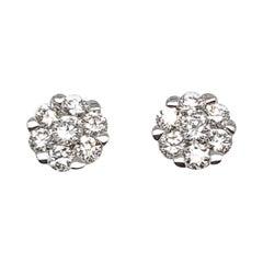 Beautiful Cluster Flower Diamond Stud Earrings in 18 Karat White Gold