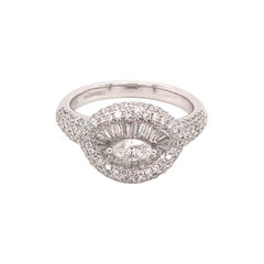 Beautiful Cocktail Ring in 18K Gold with Mix Cut Pave Set Diamonds 1.42 Carat
