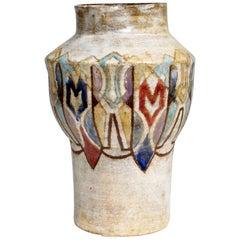 """Beautiful Colored Ceramic Vase Signed """"Vallauris"""", circa 1950s"""