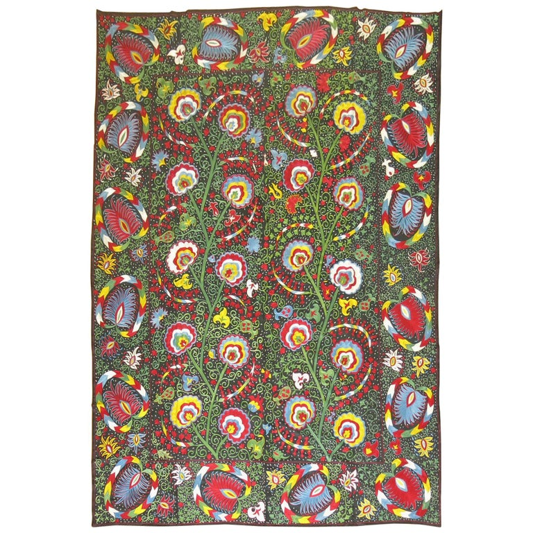 Beautiful Colorful Vintage Inspired Suzani Embroidery For Sale