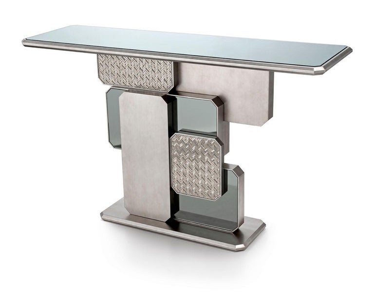 Other Beautiful Console Bronzed or Silver Finish Top bronzed or Smoked Mirror Mosaic For Sale