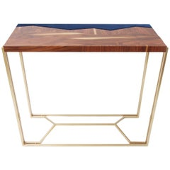 Beautiful Console Table, Marquetry in Palisander Veneer, Brass Legs, Modern