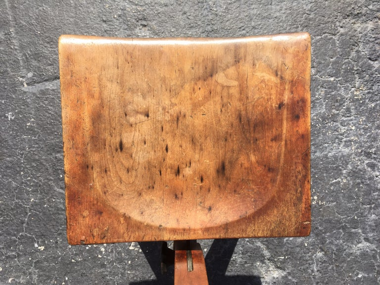 """Great patina, seat height is adjustable 20""""-23"""". Back is adjustable."""