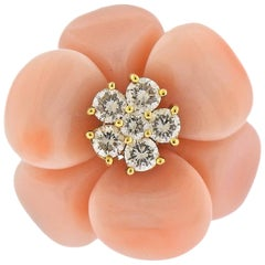 Beautiful Coral and Diamond Gold Flower Ring
