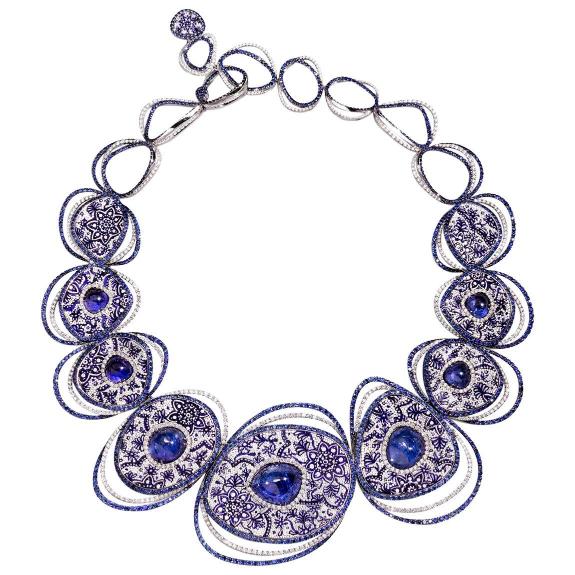 Necklace White Gold White Diamonds Sapphires Tanzanite HandDecorated Micromosaic
