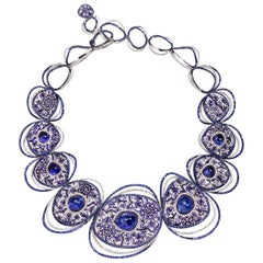 Necklace White Gold White Diamonds Sapphires Tanzanite HandDecorated Micromosaic