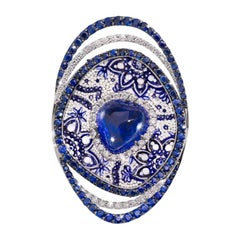 Beautiful Cosmo Ring White Diamonds Sapphires Tanzanite Gold Micromosaic