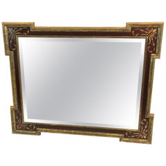 Beautiful Cranberry Painted and Gilded Venetian Style Mirror