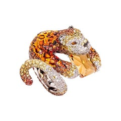 Beautiful Damisa Ring White & Black Diamonds Sapphires Citrin Quartz Topaz Gold