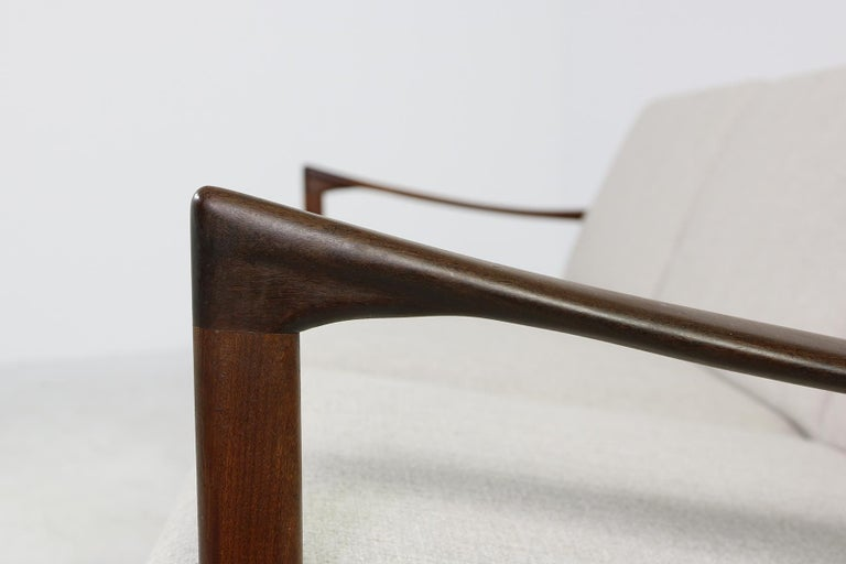 Beautiful Danish 1960s Kofod-Larsen Teak Sofa, Mod. Kandidaten, New Upholstery For Sale 4