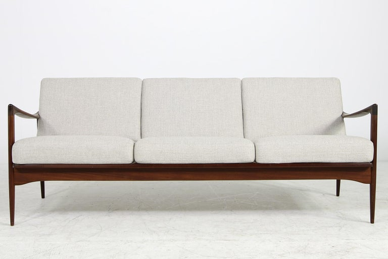 Mid-Century Modern Beautiful Danish 1960s Kofod-Larsen Teak Sofa, Mod. Kandidaten, New Upholstery For Sale