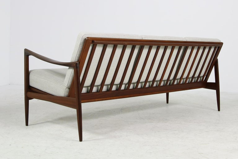 Mid-20th Century Beautiful Danish 1960s Kofod-Larsen Teak Sofa, Mod. Kandidaten, New Upholstery For Sale