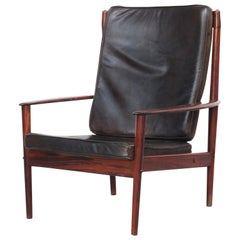 Beautiful Danish Lounge Easy Chair by Grete Jalk for P. Jeppesen in Leather