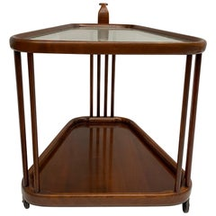 Beautiful Dark Stained Walnut Serving Trolley, Cesare Lacca Attributed, Italy