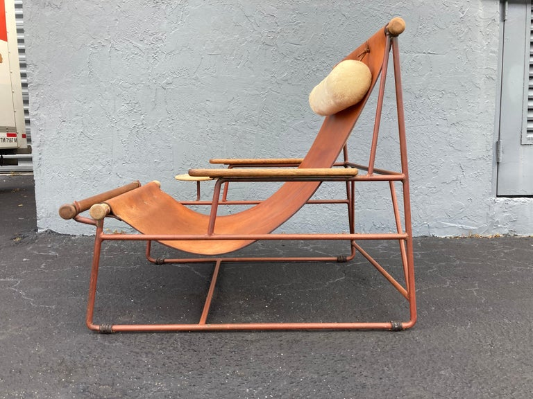 Beautiful Deck Lounge Chair Designed by Tyler Hays and Made by BDDW, Leather For Sale 3