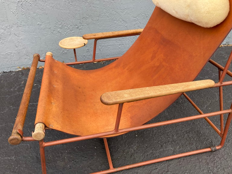 Beautiful Deck Lounge Chair Designed by Tyler Hays and Made by BDDW, Leather For Sale 5