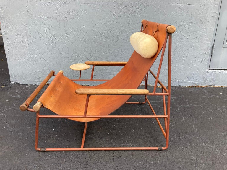 Beautiful Deck Lounge Chair Designed by Tyler Hays and Made by BDDW, Leather For Sale 6