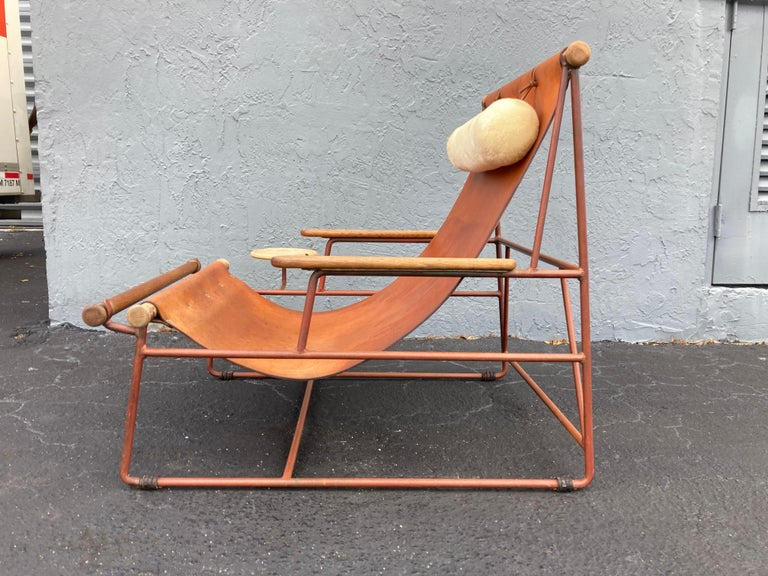 Beautiful Deck Lounge Chair Designed by Tyler Hays and Made by BDDW, Leather For Sale 7
