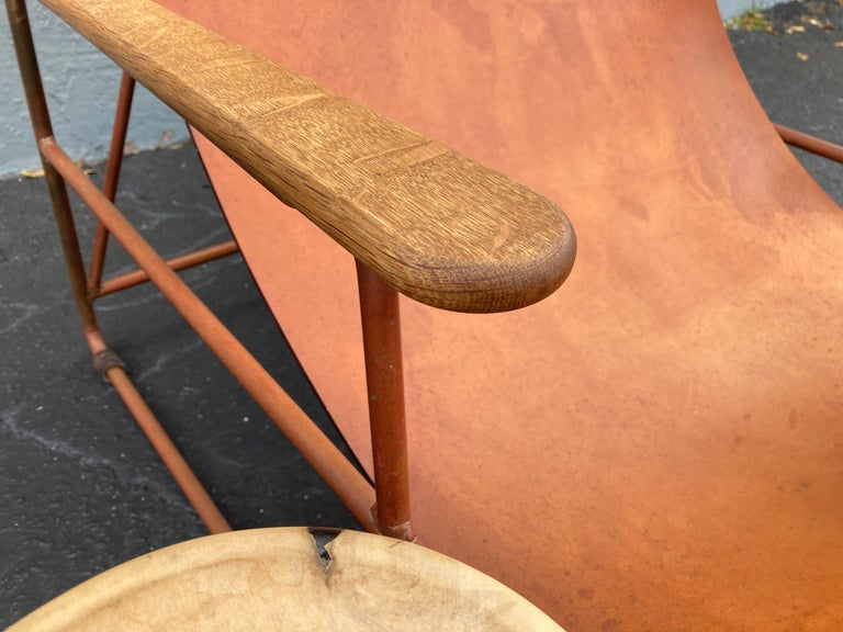 Beautiful Deck Lounge Chair Designed by Tyler Hays and Made by BDDW, Leather For Sale 9