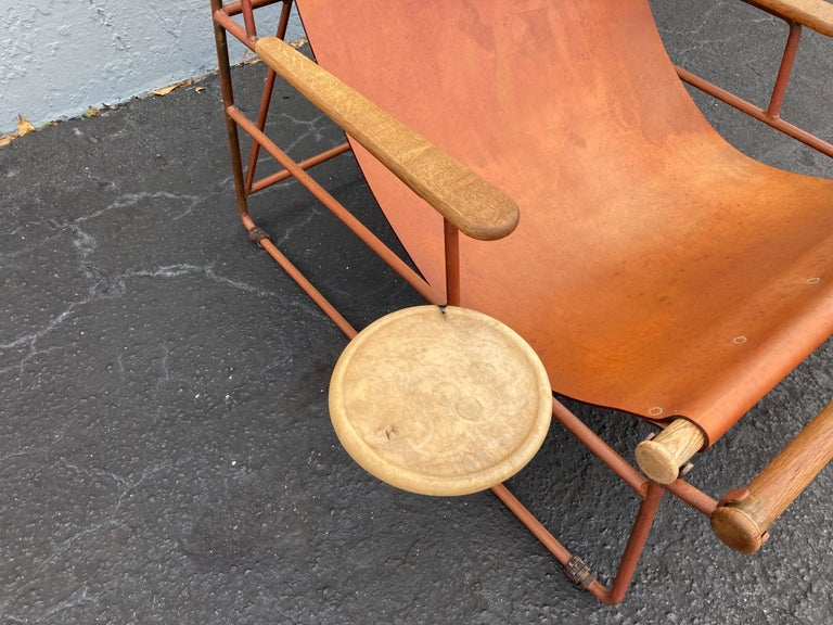 Beautiful Deck Lounge Chair Designed by Tyler Hays and Made by BDDW, Leather For Sale 13