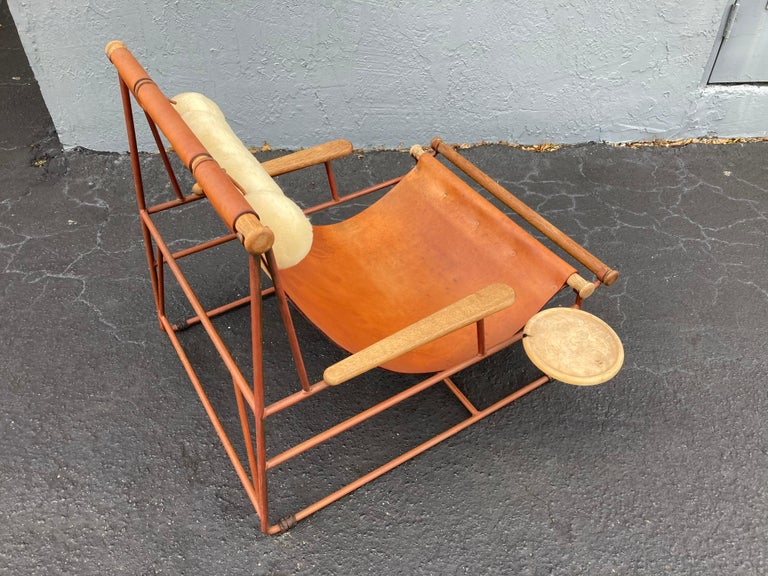 Modern Beautiful Deck Lounge Chair Designed by Tyler Hays and Made by BDDW, Leather For Sale