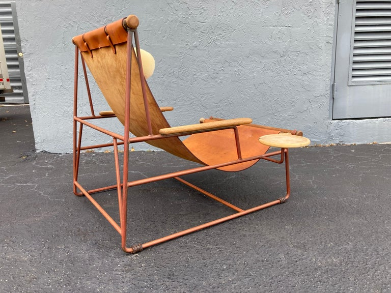 American Beautiful Deck Lounge Chair Designed by Tyler Hays and Made by BDDW, Leather For Sale