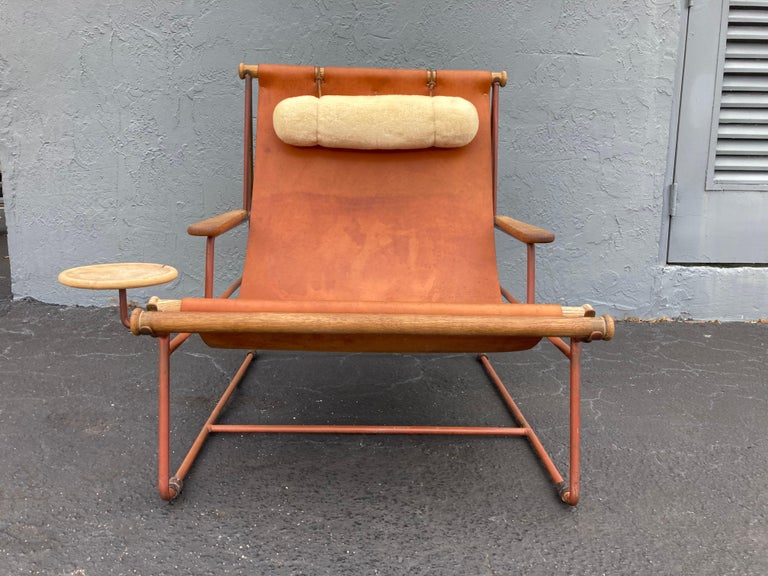 Beautiful Deck Lounge Chair Designed by Tyler Hays and Made by BDDW, Leather In Good Condition For Sale In Opa Locka, FL
