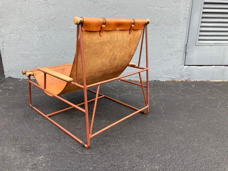 Beautiful Deck Lounge Chair Designed by Tyler Hays and Made by BDDW, Leather For Sale 2