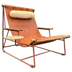 Beautiful Deck Lounge Chair Designed by Tyler Hays and Made by BDDW, Leather