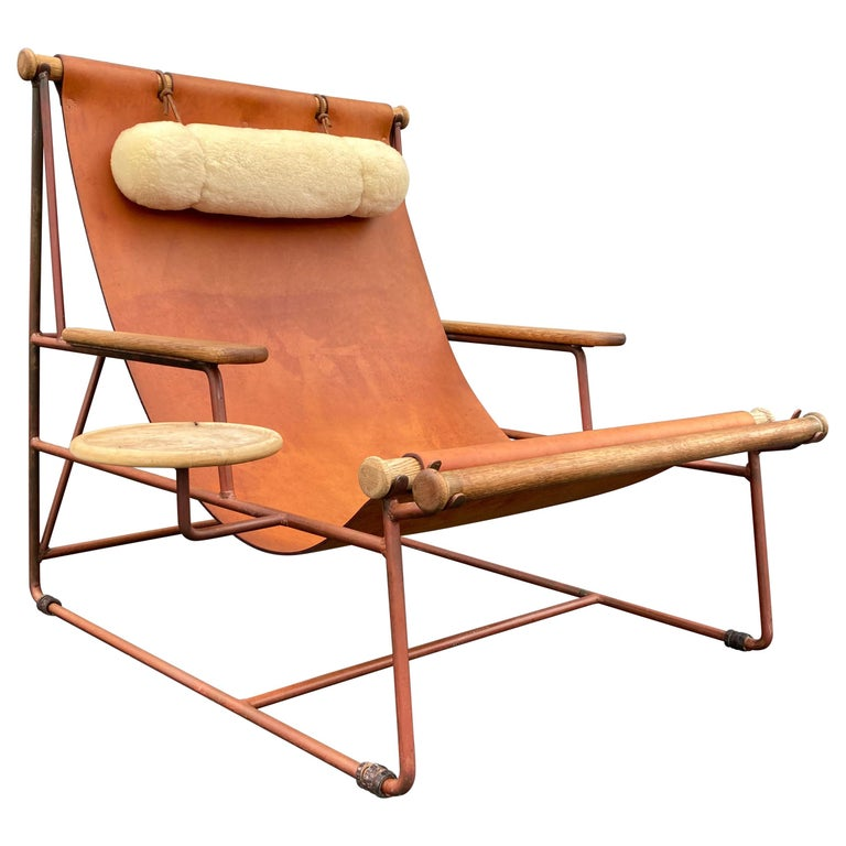 Beautiful Deck Lounge Chair Designed by Tyler Hays and Made by BDDW, Leather For Sale