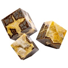Beautiful Decorative Set of Three Cubes of Septarian from Madagascar