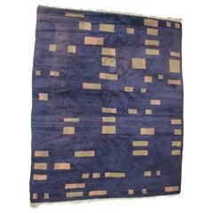 Beautiful Design Geometric Wool Carpet / Rug, 1950s