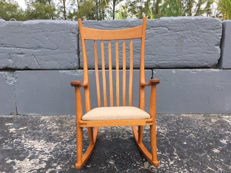 Modern Beautiful Designer Craftsman Rocking Chair, White Oak, Fabric For Sale