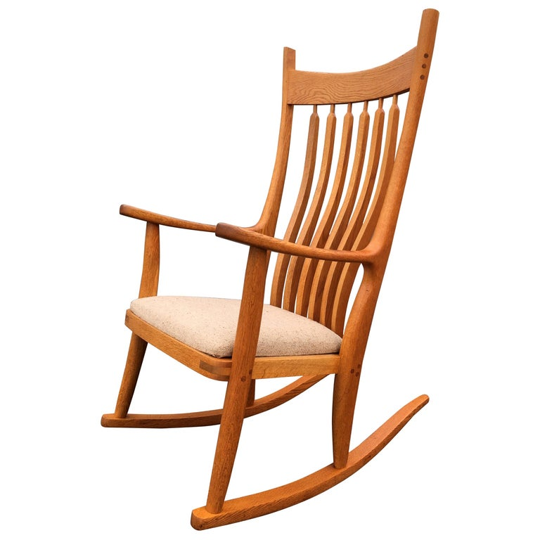Beautiful Designer Craftsman Rocking Chair, White Oak, Fabric For Sale